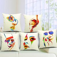 45*45cm Car Sofa Cushion Covers Art Female Face Cotton Linen Pillow Cases Home Decorative Cushion Pillow Cover Square