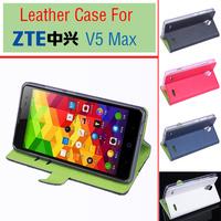 ZTE V5 MaxContrast color  Flip  PU Case Cover For ZTE V5 Max Smartphone Free Shipping