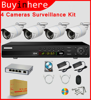 4CH 720P POE NVR Security Night RJ45 Network Wireless IP CCTV Camera System  2TB HDD Hard Disk iOS Android Call phone