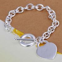 Best Gifts New Men Women Fashion 925 Sterling Silver Heart Love Romantic Silver Bracelets Wedding Jewelry LKNSPCH274