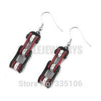 Free Shipping! Red & Black Bicycle Chain Motor Earrings Stainless Steel Jewelry Rhinestone Motorcycle Biker Earring SJE370122L