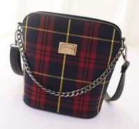 2015 hot sale New bag 2 colors female Korean stylish Plaid tides barrel baodan shoulder bag lady bag factory wholesale