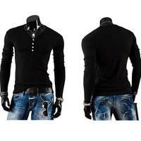 NEW Mens Slim Fit Casual Long Sleeve T-shirt Muscle Tee Henley Shirt Button Tops