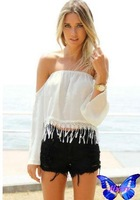 2015 Roupas Femininas Branco Blusa Renda Womens Tops And Blouses Off Shoulder Word Collar Tassels Chiffon Shirt Hot Sale
