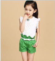 The New 2015 Summer Girls Fashion Costumes Girl Clothing Sets Lace White Blouses+ Red,Rose,Green Shorts  Set Kids Clothes Sets