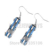 Free Shipping! Blue Bicycle Chain Motor Earrings Stainless Steel Jewelry Rhinestone Motorcycles Biker Earring SJE370124L