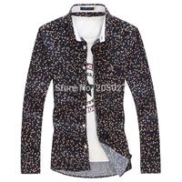 2015 Spring New Stylish Polka Dot Shirts Men, Men's Shirts Casual  Dress Shirts For  Men Plus Size 3XL 4XL 5XL