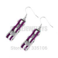 Free Shipping! Purple Bicycle Chain Motor Earring Stainless Steel Jewelry White Rhinestone Motorcycles Biker Earring SJE370125L