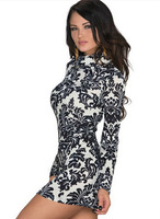 Free shipping 2015 women Europe and the United States elegant pattern printing self-cultivation pencil sexy dresses LYQ21856