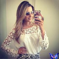 2015 New Branco Blusa Renda Womens Tops Hollow Out Crochet Lace Shirt Roupas Femininas Long Sleeve White Blouse Plus Size
