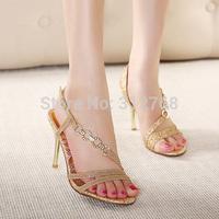2015 European Gold Rhinestone Women Sandals High Heels Summer Shoes Sexy Lady's Less Platform Pumps Bride Wedding Shoes