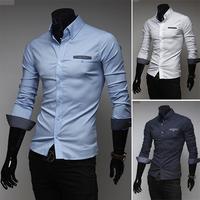 Free shipping men's long-sleeved shirt small dot fabric of high quality fashion casual long-sleeved shirt size M-XXL-9056