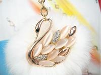 2015 metal swan key chain  fashion keychain crystal pure swan  dance Genuine Leather fox fur ball    New design free shipping