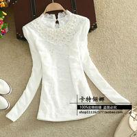 2015 autumn winter new arrival plus size slim all-match body casual women blouse sweet cute patchwork lace blusas femininas SALE