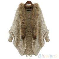 Women's Winter Warm Loose Faux Fur Collar Batwing Sleeve Sweater Coat Cardigan