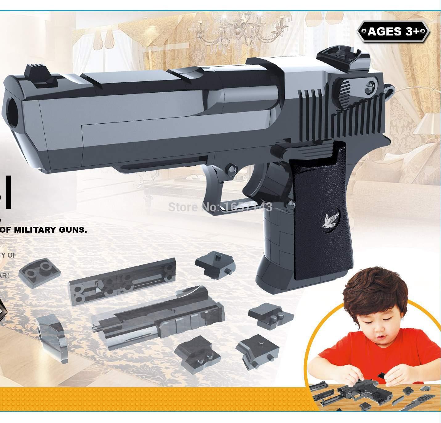 Educational toys assembling toy gun blocks 43pcs blocks can launch bullets(China (Mainland))