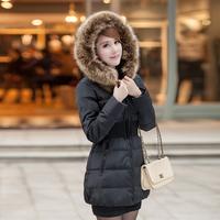 Winter women's thickening belt large fur collar medium-long down wadded jacket plus size cotton-padded jacket
