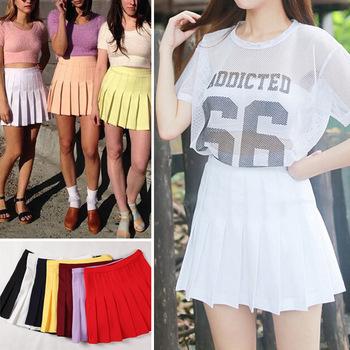 2015 Street Style Fashion Woman Lady High Waist Ball Tennis Pleated Skirt XS-L White Black Red Pink Yellow Saias Femininas(China (Mainland))