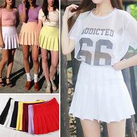 2015 Street Style Fashion Woman Lady High Waist Ball Tennis Pleated Skirt XS-L White Black Red Pink Yellow Saias Femininas