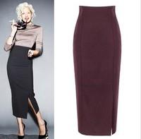 Free Shipping Fashion high waist slim hip skirt  for Women,elegant solid color plus size Women Woolen Pencil Skirts XS-3XL