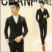 Hot 2015 Fashion Mens Sequin Tuxedo Slim Fit Custom Korean Suit 3 Piece With Vest Wedding Dress Suits For Men Black Grey M-XXL