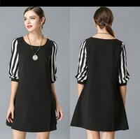 women summer 2015 new fashion Chiffon Black Striped Patchwork Mini O-Neck half Sleeve Vestidos Plus Size clothing xxxl 4XL 5XL W
