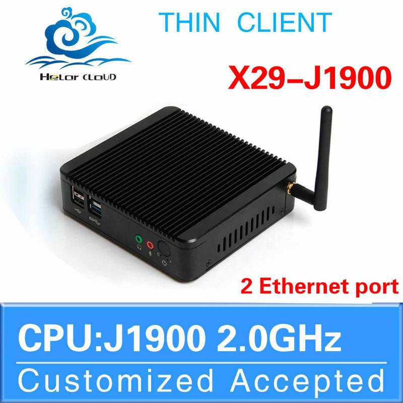Low power Intel J1900 barebone pc SO-DIMM mini pc thin client laptop computer 2 lan 4*usb port with wifi fanless design(China (Mainland))