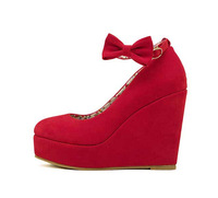Low Price 2014 New Sexy Women Fashion Buckle ladies Shoes Vogue Wedges RED APRICOT BLACK High Heels Platform Pumps j3415
