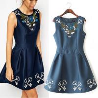 women casual dress short spring summer autumn new fashion sleeveless dress embroidered waist Puff