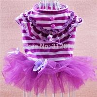 On Sale Pink Purple Bow Striped Princess Pet Dress For Puppy Dogs Animal QC4 M Poodle Yorkshire Cat Apparel Cat Vest Supplies