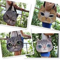 1pc/lot Cute Cat Shopping Bag Single Shoulder Casual Women Woven Canvas Bag Office Lady Lunch Bag PA641461