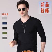 Free shipping modal t-shirt solid color long-sleeve V-neck basic shirt male