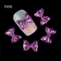 10pcs Resin 3D Bownot Nail Art Stickers Glitter Nail Gel Tools Purple DIY Rhinestone & Decoration PJ030