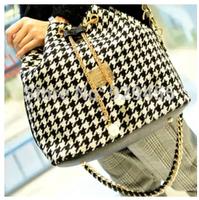 2015 New Women Bucket Bag Chain Drawstring Women Crossbody Messenger Bags Plaid Ladies Handbag Casual Tote Satchels Hobo