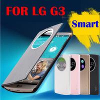 4 Color Original Rock Brand Smart View window Flip Cover For LG Optimus G3 D830 D855 D850,Discount Leather phone Case For LG G3