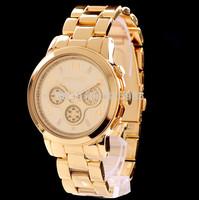 Hot selling Brand Gold Plated Stainless Steel fashion man women ladies Janpan Quartz Movement Wrist Watch Clock Reloj Dropship
