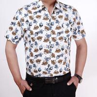2015 new fashion men's summer cotton leaf-printed short sleeve shirt print turn-down collar casual shirts S- XXL #644