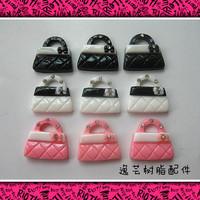 Hot selling! flat back resin cabochon handbag  brand 21*23mm for DIY phone decoration 30pcs/lot  mix colors