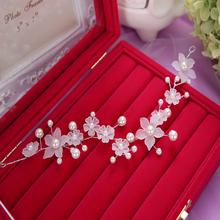 Fashion Woman White Pearl Flower Hair Comb Head Tiara Headdress Headwear Fiara Wedding Bridal Party