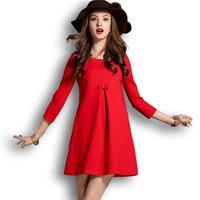 Fashion New 2015 Autumn Winter Lace Splice Casual Tops Plus Size Three Quarter O-Neck Women's Sexy Dress Female Vestidos