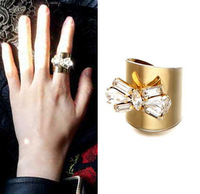 AR076 New Style 18K Gold Plated Large Rhinestone Bowknot Metal Ring For Women Rock Punk Bow Rings