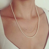 Elegant Double Layers Gold Thin Chain Multi Beads Pearl Necklace Chain Simple Punk Boho Emo Celebs Style