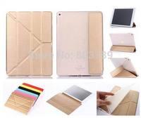 Fashion Clear TPU Back + PU Leather Transformers Case Cover for iPad Air 2 Air2 iPad 6,1pc/lot