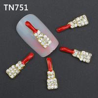 10Pcs Red Gold Guitar Nail Tools Clear Rhinestones For Alloy Nails Glitters DIY 3D Nail Art Decorations TN751
