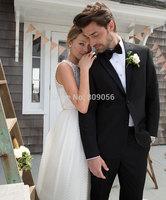 2015 Handsome Black Groom Tuxedos terno noivo Groomsman Party Prom Wedding Men Suits (Jacket+Pants+Tie) S218