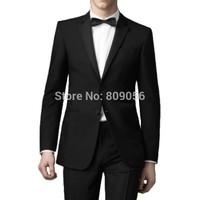 2015 New Slim Fit Black Groom Tuxedos terno noivo Groomsman Business Wedding Men Suits (Jacket+Pants+Tie) S217