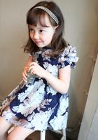 Baby Time 2015 Summer New Summer Korean Style Fly Sleeveless  Organza  Floral Print Children Dress Flower  White Blue