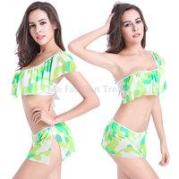 2015 Women Girl Gift Sexy Beach Bathe Swim wear Flouncing Bikini Dress Set Fashion Upscale elastic Brazilian Biquini Swimsuits