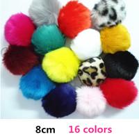 New Arrival Faux Fake Fur Ball Keyring 8cm Size multi-colored keyring keyfob fashion Accessories