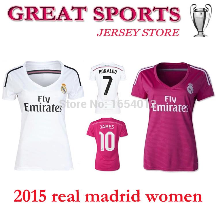New! 2015 Real Madrid Women Soccer Jersey 14 15 Home White Away pink real madrid women shirt KROOS RONALDO BALE James girl shirt(China (Mainland))